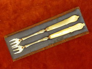 pair silver plated pickle forks