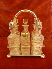silver plated 6 pc glass cruet set