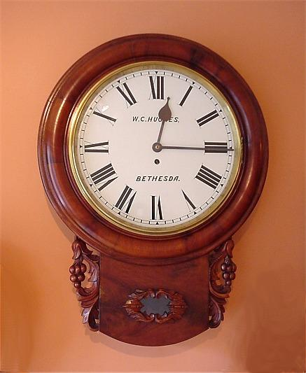 Mahogany Drop Dial Fusee Wall Clock c1850