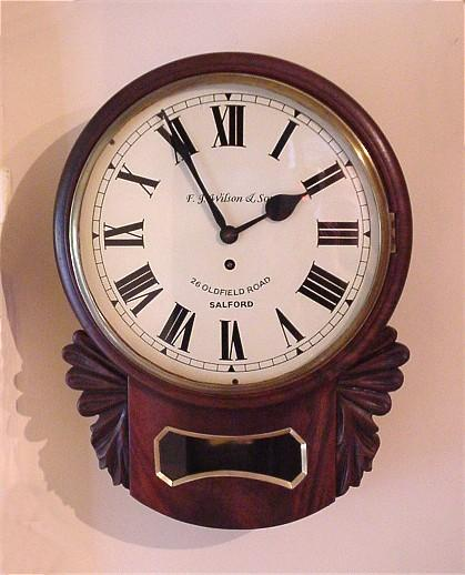 Antique English 8 day Fusee Wall Clock c1880